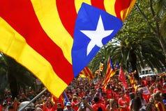 Η Καταλωνία Diada στην πόλη της Βαρκελώνης συσσώρευσε ευρέως τη διαγώνια οδό στοκ φωτογραφία με δικαίωμα ελεύθερης χρήσης