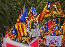 Η Καταλωνία Diada στην πόλη της Βαρκελώνης συσσώρευσε ευρέως τη διαγώνια οδό στοκ εικόνες με δικαίωμα ελεύθερης χρήσης