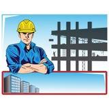 η κατασκευή απομόνωσε το συμπαθητικό εργαζόμενο εξαρτήσεων διανυσματική απεικόνιση