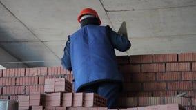 Η κατασκευή Διαδικασία πλινθοδομής με το trowel απόθεμα βίντεο