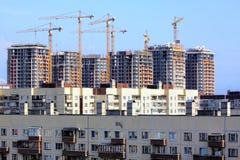 Η κατασκευή των κατοικημένων σπιτιών στοκ εικόνες