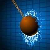 Η καταστρέφοντας σφαίρα & ο μπλε τοίχος διανυσματική απεικόνιση
