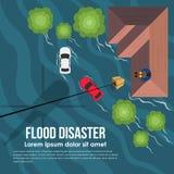 Η καταστροφή πλημμυρών με το τοπ ελικόπτερο άποψης παραδίδει το κιβώτιο βοήθειας στα θύματα πλημμυρών στη στέγη του διανυσματικού ελεύθερη απεικόνιση δικαιώματος