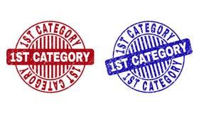 1$η ΚΑΤΗΓΟΡΙΑ Grunge που γρατσουνίζεται γύρω από τις σφραγίδες γραμματοσήμων διανυσματική απεικόνιση