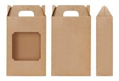 Η καφετιά μορφή παραθύρων κιβωτίων αποκόπτει το συσκευάζοντας πρότυπο, κενό απομονωμένο χαρτόνι άσπρο υπόβαθρο κιβωτίων του Κραφτ Στοκ φωτογραφία με δικαίωμα ελεύθερης χρήσης