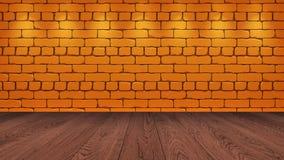 Η καφετιά ξύλινη επιτραπέζια κορυφή στο υπόβαθρο είναι ένα πορτοκαλί παλαιό τούβλο Επίδραση επικέντρων στον τοίχο - μπορεί να χρη διανυσματική απεικόνιση