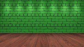 Η καφετιά ξύλινη επιτραπέζια κορυφή στο υπόβαθρο είναι ένα πράσινο παλαιό τούβλο Επίδραση επικέντρων στον τοίχο - μπορεί να χρησι ελεύθερη απεικόνιση δικαιώματος