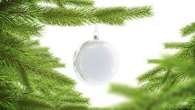 Η κενή άσπρη χλεύη πεύκων ένωσης σφαιρών Χριστουγέννων επάνω, περιτυλίχτηκε περιστροφή απεικόνιση αποθεμάτων
