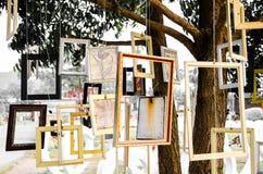Η κενή εικόνα πλαισίων κρεμά στο δέντρο Στοκ Φωτογραφία