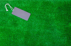 Η κενή ετικέτα τιμών στο πράσινο υπόβαθρο Στοκ φωτογραφία με δικαίωμα ελεύθερης χρήσης