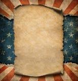 Η κενή περγαμηνή ή η δήλωση εγγράφου Grunge άνω των ΗΠΑ σημαιοστολίζει την τρισδιάστατη απεικόνιση προτύπων ημέρας της ανεξαρτησί διανυσματική απεικόνιση