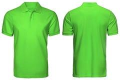 Η κενή πράσινης μπροστινής και πίσω άποψη πουκάμισων πόλο, απομόνωσε το άσπρο υπόβαθρο Πουκάμισο, πρότυπο και πρότυπο πόλο σχεδίο Στοκ φωτογραφίες με δικαίωμα ελεύθερης χρήσης