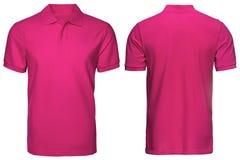 Η κενή ρόδινης μπροστινής και πίσω άποψη πουκάμισων πόλο, απομόνωσε το άσπρο υπόβαθρο Πουκάμισο, πρότυπο και πρότυπο πόλο σχεδίου Στοκ φωτογραφία με δικαίωμα ελεύθερης χρήσης