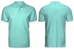 Η κενή τυρκουάζ μπροστινής και πίσω άποψη πουκάμισων πόλο, απομόνωσε το άσπρο υπόβαθρο Πουκάμισο, πρότυπο και πρότυπο πόλο σχεδίο Στοκ εικόνες με δικαίωμα ελεύθερης χρήσης