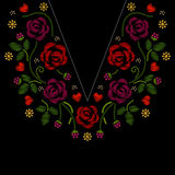 Η κεντητική γραμμών λαιμών με τα τριαντάφυλλα ανθίζει τη διανυσματική απεικόνιση στοκ φωτογραφίες
