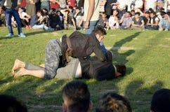 Η κεντρική ασιατική τουρκμενική πάλη λιβαδιών που διοργανώνεται στη Ιστανμπούλ Στοκ εικόνες με δικαίωμα ελεύθερης χρήσης