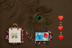 Η κεραμική τσάντα, κιβώτιο με το δώρο ημέρας βαλεντίνων, peacock επενδύει με φτερά και καρδιές Στοκ εικόνες με δικαίωμα ελεύθερης χρήσης