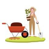 Η κηπουρική κοριτσιών γυναικών που καλλιεργεί φέρνει το φυτό γλαστρών που φορά το φτυάρι εκμετάλλευσης χαρακτήρα κινουμένων σχεδί Στοκ εικόνα με δικαίωμα ελεύθερης χρήσης