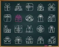 Η κιμωλία δώρων σύρει το διανυσματικό σύνολο εικονιδίων γραμμών διανυσματική απεικόνιση