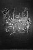 Η κιμωλία επιγραφής στον πίνακα - ευτυχές Boss& x27 ημέρα του s Στοκ Φωτογραφία