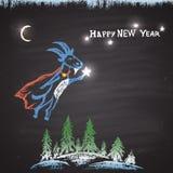 Η κιμωλία χρωμάτισε την έγχρωμη εικονογράφηση με την πετώντας αίγα, τα χριστουγεννιάτικα δέντρα, τα φωτεινά αστέρια, το φεγγάρι κ Στοκ εικόνα με δικαίωμα ελεύθερης χρήσης