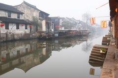 Η κινεζική πόλη νερού - Xitang στο πρωί Στοκ εικόνες με δικαίωμα ελεύθερης χρήσης