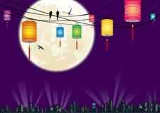 Η κινεζική σκηνή β νύχτας πόλεων φεστιβάλ μέσος-φθινοπώρου Στοκ Φωτογραφίες