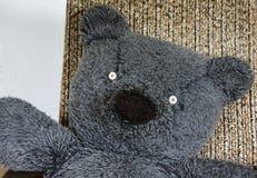 Η κινηματογράφηση σε πρώτο πλάνο παλαιού teddy αντέχει το πρόσωπο Στοκ Φωτογραφίες