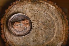 Η κινηματογράφηση σε πρώτο πλάνο ραβδιά της κανέλας είναι σχετισμένη με μια δαντέλλα σε ένα στιλπνό εκλεκτής ποιότητας πιάτο, σε  Στοκ Φωτογραφία