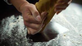 Η κινηματογράφηση σε πρώτο πλάνο της γυναίκας δίνει να ζυμώσει τη ζύμη στον πίνακα που καλύπτεται με το αλεύρι απόθεμα βίντεο