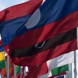 Η κινηματογράφηση σε πρώτο πλάνο του κόσμου σημαιοστολίζει την επίδειξη Στοκ Φωτογραφία