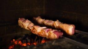 Η κινηματογράφηση σε πρώτο πλάνο των οβελιδίων με τα κομμάτια κρέατος που γυρίζουν ψήνοντας στο ξύλο έβαλε φωτιά στο φούρνο απόθεμα βίντεο