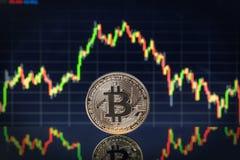 Η κινηματογράφηση σε πρώτο πλάνο Bitcoin νομισμάτων, και σχεδιάζει την ανταλλαγή στο υπόβαθρο Στοκ φωτογραφία με δικαίωμα ελεύθερης χρήσης