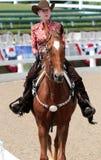Η κινηματογράφηση σε πρώτο πλάνο ενός ατόμου τρίτης ηλικίας σε ένα άλογο στο άλογο φιλανθρωπίας Germantown παρουσιάζει Στοκ εικόνες με δικαίωμα ελεύθερης χρήσης