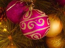 Η κινηματογράφηση σε πρώτο πλάνο η διακοσμητική πορφυρή σφαίρα Χριστουγέννων με το χρυσό σχέδιο κρεμά στο χριστουγεννιάτικο δέντρ Στοκ Εικόνα