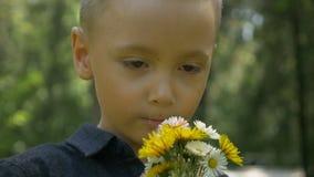 Η κινηματογράφηση σε πρώτο πλάνο του λατρευτού μυρίζοντας ελατηρίου παιδιών ανθίζει και αισθαμένος εύθυμης φύσης φιλμ μικρού μήκους