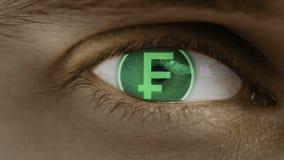 Η κινηματογράφηση σε πρώτο πλάνο του ματιού με το κείμενο υπολογιστών Ζουμ στο centr Ελβετός, φράγκο, CHF απεικόνιση αποθεμάτων