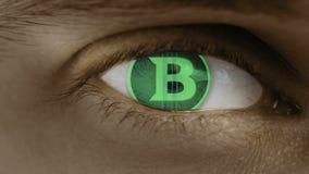 Η κινηματογράφηση σε πρώτο πλάνο του ματιού με το κείμενο υπολογιστών Ζουμ στο centr Σημάδι Bitcoin διανυσματική απεικόνιση