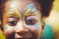 Η κινηματογράφηση σε πρώτο πλάνο των ματιών ενός μικρού κοριτσιού με αποτελεί Στοκ εικόνα με δικαίωμα ελεύθερης χρήσης