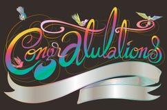 Η κλασική πηγή συγχαρητηρίων έχει το σχέδιο πουλιών και το διάστημα αντιγράφων απεικόνιση αποθεμάτων