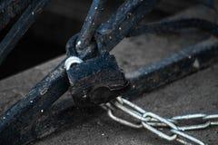 Η κλειδαριά συνδέει μια αλυσίδα μετάλλων στοκ εικόνα