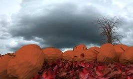 Η κολοκύθα αποκριών στο κόκκινο βγάζει φύλλα, τρισδιάστατη απόδοση Στοκ Εικόνα