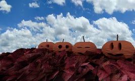 Η κολοκύθα αποκριών στο κόκκινο βγάζει φύλλα, τρισδιάστατη απόδοση Στοκ Φωτογραφία