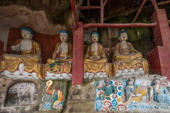 Η κομητεία Anyue, επαρχία Σισουάν στο βόρειο ναό σπηλιών Peacock δυναστείας τραγουδιού δημιούργησε τριών Βούδας τη σπηλιά, σπηλιά Στοκ φωτογραφία με δικαίωμα ελεύθερης χρήσης