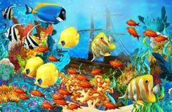 Η κοραλλιογενής ύφαλος - απεικόνιση για τα παιδιά Στοκ εικόνες με δικαίωμα ελεύθερης χρήσης