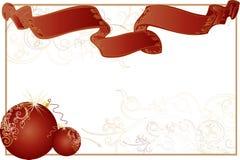η κορδέλλα πλαισίων Χριστουγέννων σφαιρών το λευκό Στοκ Εικόνες