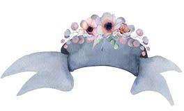 Η κορδέλλα Watercolor με τις floral ανθοδέσμες δίνει το συρμένο έμβλημα Στοκ φωτογραφίες με δικαίωμα ελεύθερης χρήσης