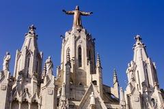 Η κορυφή της εκκλησίας της ιερής καρδιάς Tibidabo Στοκ φωτογραφία με δικαίωμα ελεύθερης χρήσης