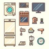 η κουζίνα βασικών εικονιδίων σχεδίου συσκευών έθεσε σας Στοκ Φωτογραφία