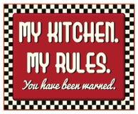 Η κουζίνα μου το αναδρομικό εκλεκτής ποιότητας σημάδι κανόνων μου διανυσματική απεικόνιση